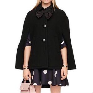 Kate Spade Black Bow Wool Cape Coat
